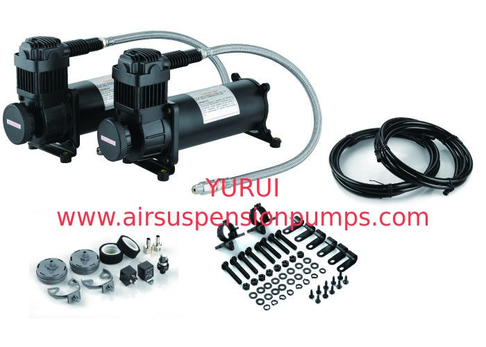 Cars Air Suspension Compressor Durable 12v Air Compressor With Tank Black